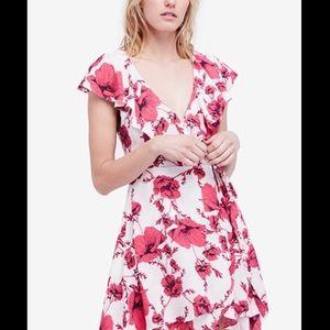Free People Pink Floral Wrap Dress